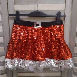 Dresses & Skirts - Red and silver sequined holiday mini skirt